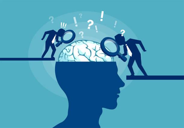 koncepcja naukowca badającego ludzki mózg - umiejętność stock illustrations