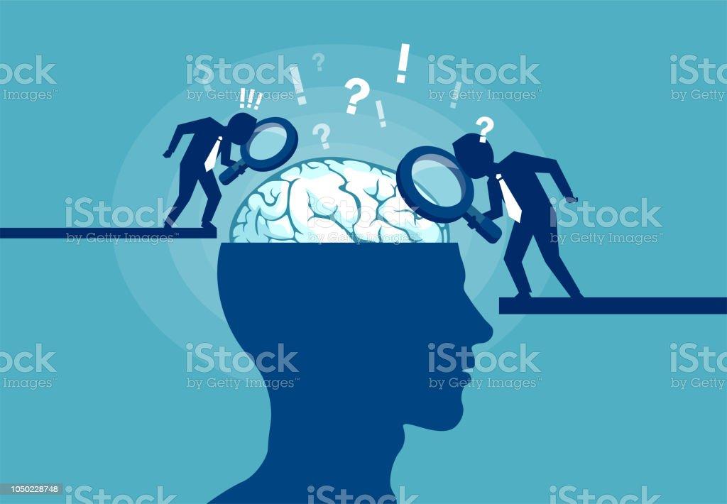 Concept of scientist exploring human brain vector art illustration
