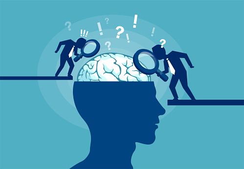 Concept Of Scientist Exploring Human Brain Stock Illustration - Download Image Now