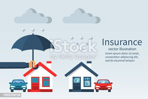 Concept of security of property. Weather insurance. Agent holding umbrella over house. Ruined house and car with broken windows. Vector illustration flat design. Isolated on white background.