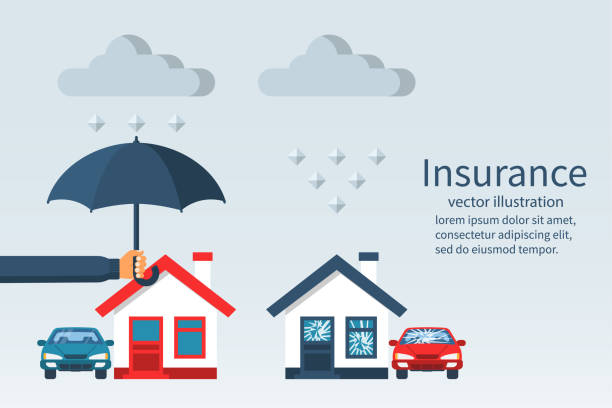 Concept of security of property. Concept of security of property. Weather insurance. Agent holding umbrella over house. Ruined house and car with broken windows. Vector illustration flat design. Isolated on white background. damaged stock illustrations