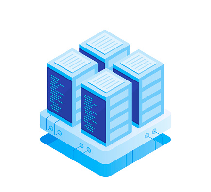 Concept of server room. Hosting with cloud data storage and server room. Server rack. Modern Vector illustration in Isometric style