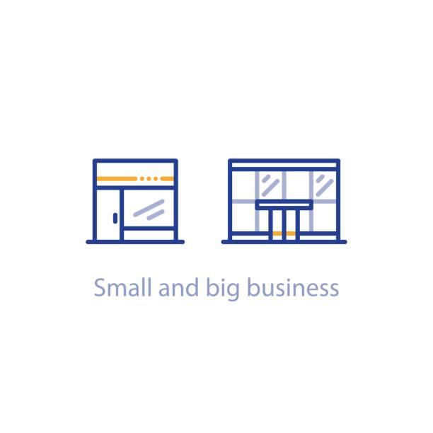 konzept der kleinen und großen business-abgleich, shop und bürogebäude - groß stock-grafiken, -clipart, -cartoons und -symbole