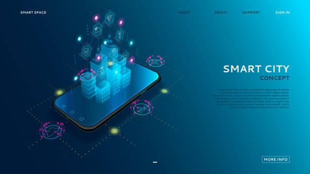 ilustrações de stock, clip art, desenhos animados e ícones de concept of smart city with iot - smart city