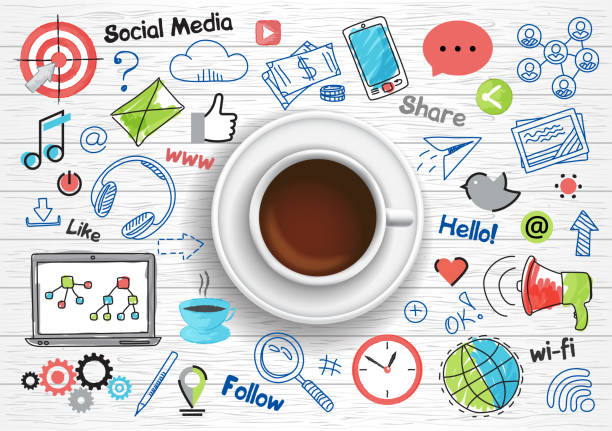 Concept of social media for graphic and web design vector art illustration