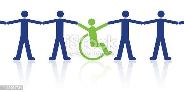 Concept de la solidarité entre une personne handicapée et des hommes valides avec un pictogramme utilisant le symbole de la chaine humaine.