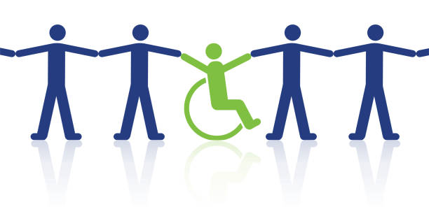 Concept of solidarity between a disabled person and able-bodied men vector art illustration