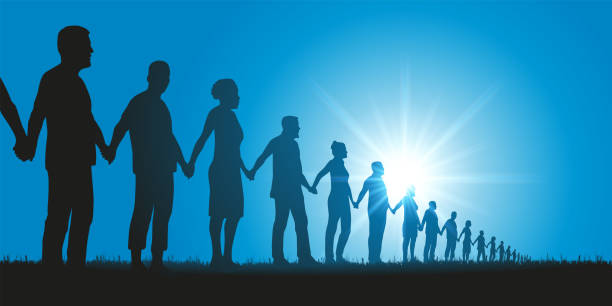 Concept of solidarity with a group of people who form a human chain to demonstrate. vector art illustration