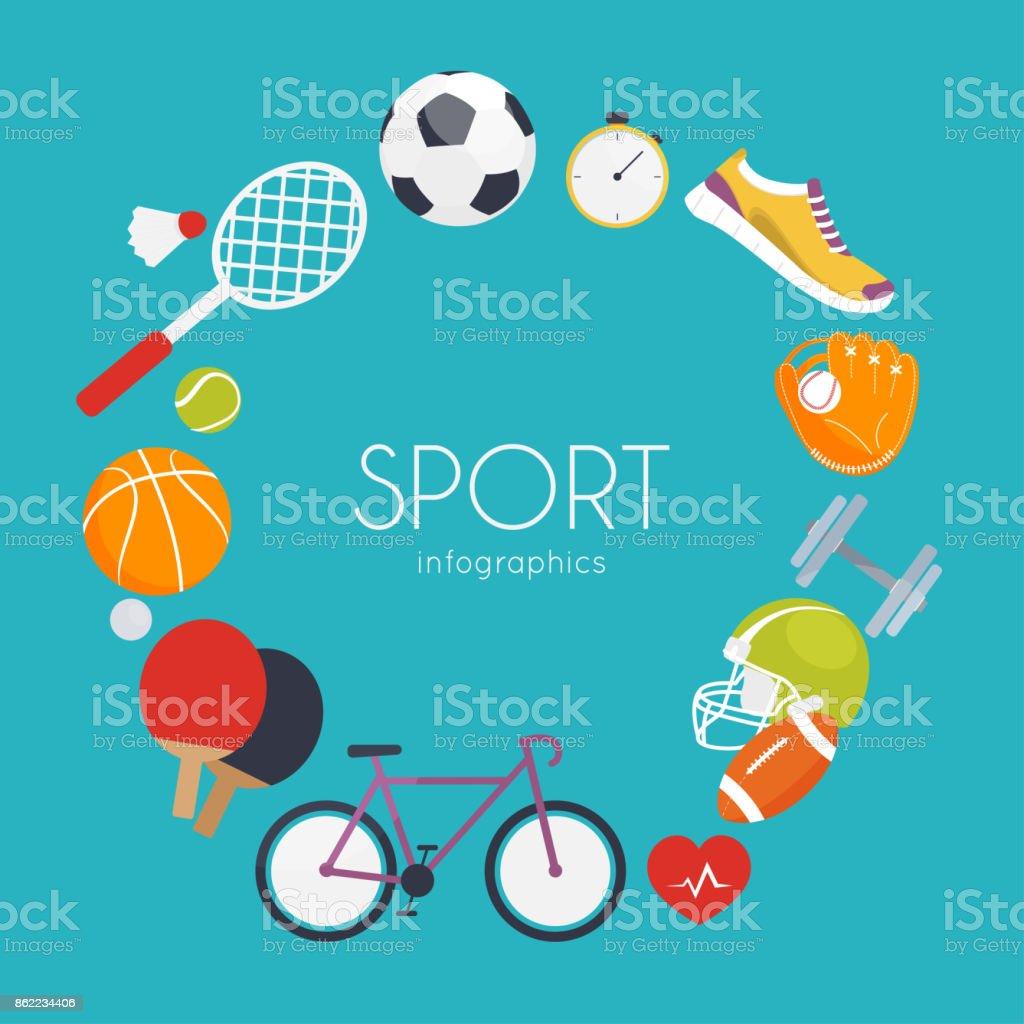 Concept of sport infographics. Icons for web: fitness, sport equipment and metrics. Flat design vector illustration. vector art illustration