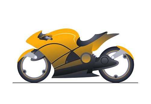 concept of sport motorbike in yellow color