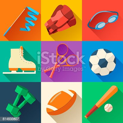istock Concept of sports equipment flat icons. vector illustration design 514533807