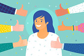 Concept of success and public approval. Cheerful young woman surrounded by hands with thumbs up. Flat design, vector illustration.