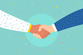 Concept of success deal, happy partnership, greeting shake, casual handshaking agreement. Shaking hands.