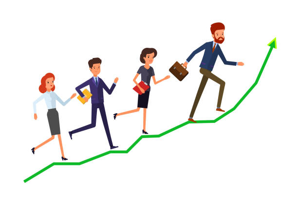 Concept of success. Concept of success. A group of office workers are running on graph growth up. Flat design, vector illustration. bonus march stock illustrations