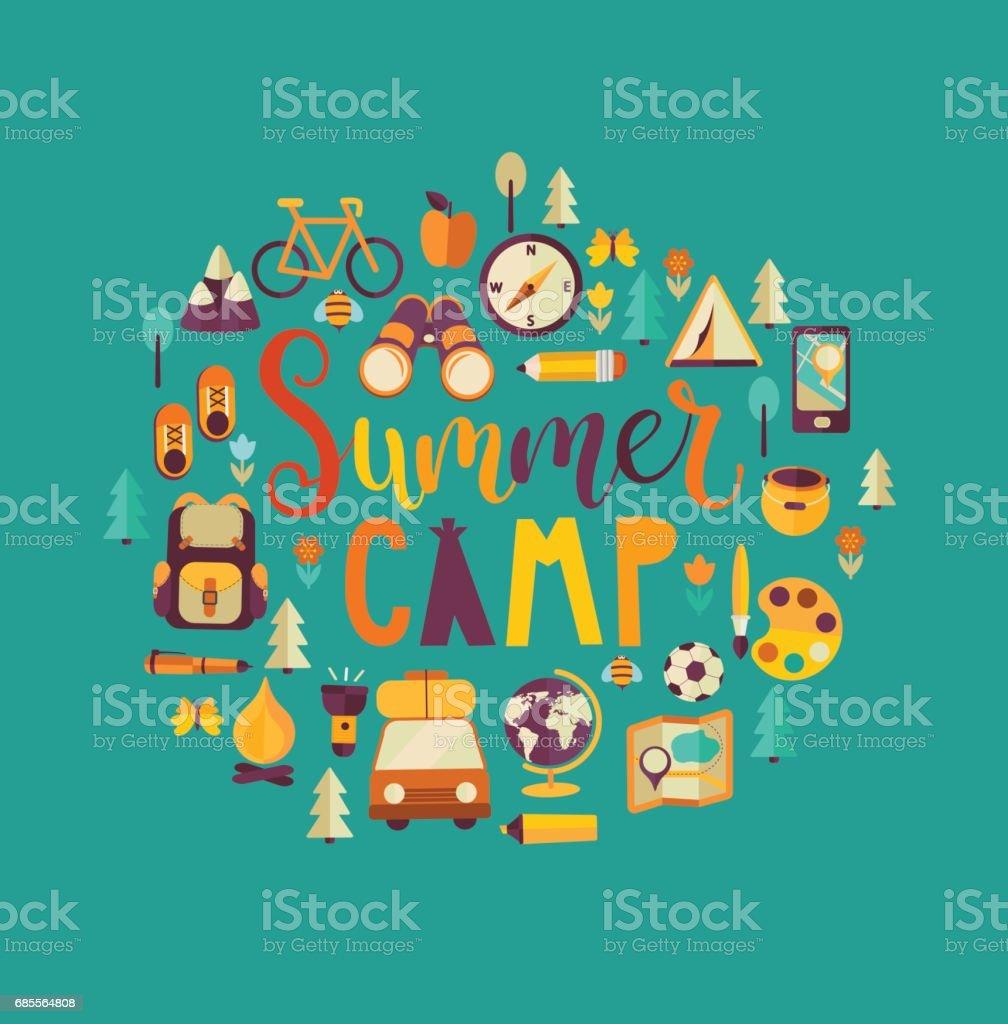 Concept of summer camp. vector art illustration