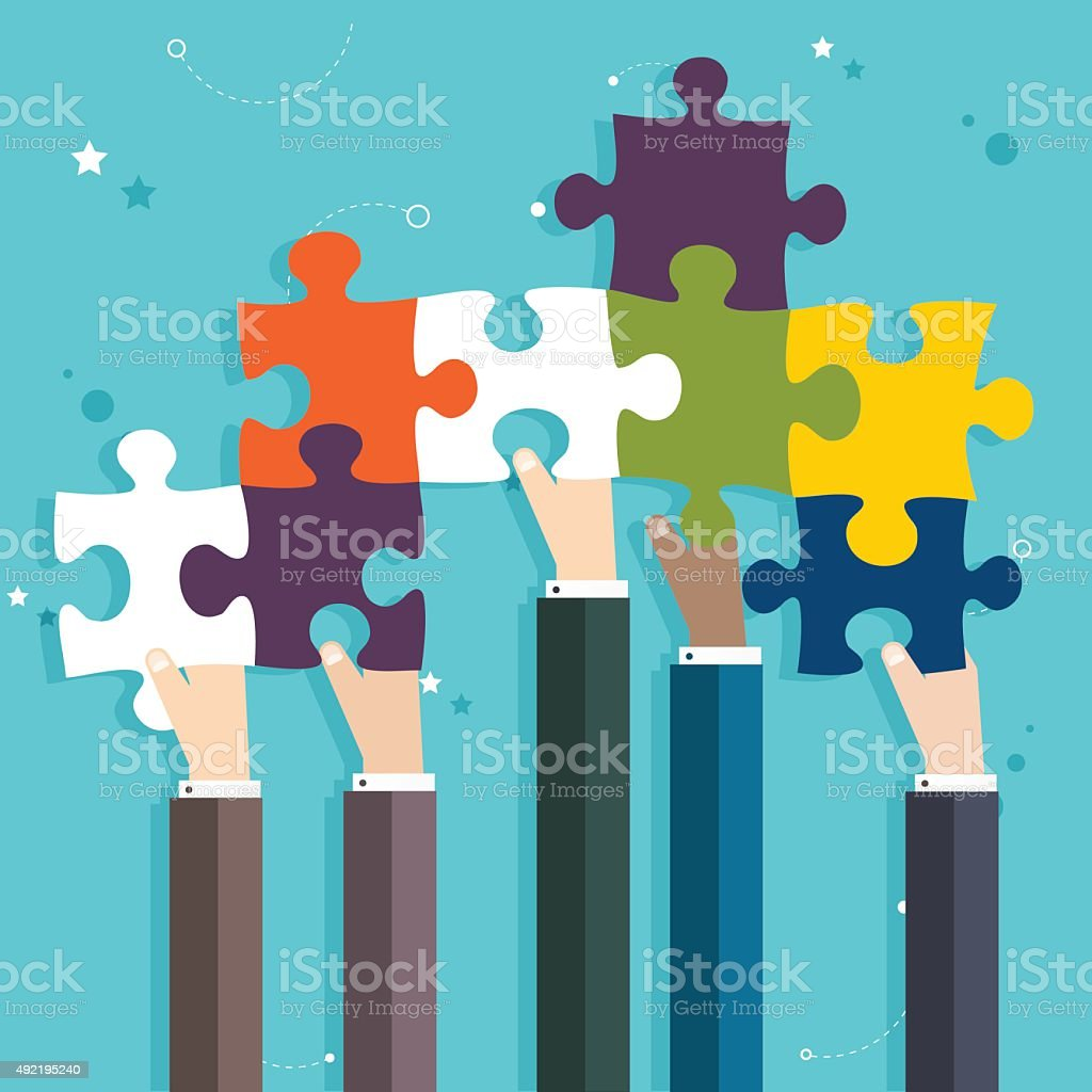 Concept of teamwork and integration with businessman holding col vector art illustration