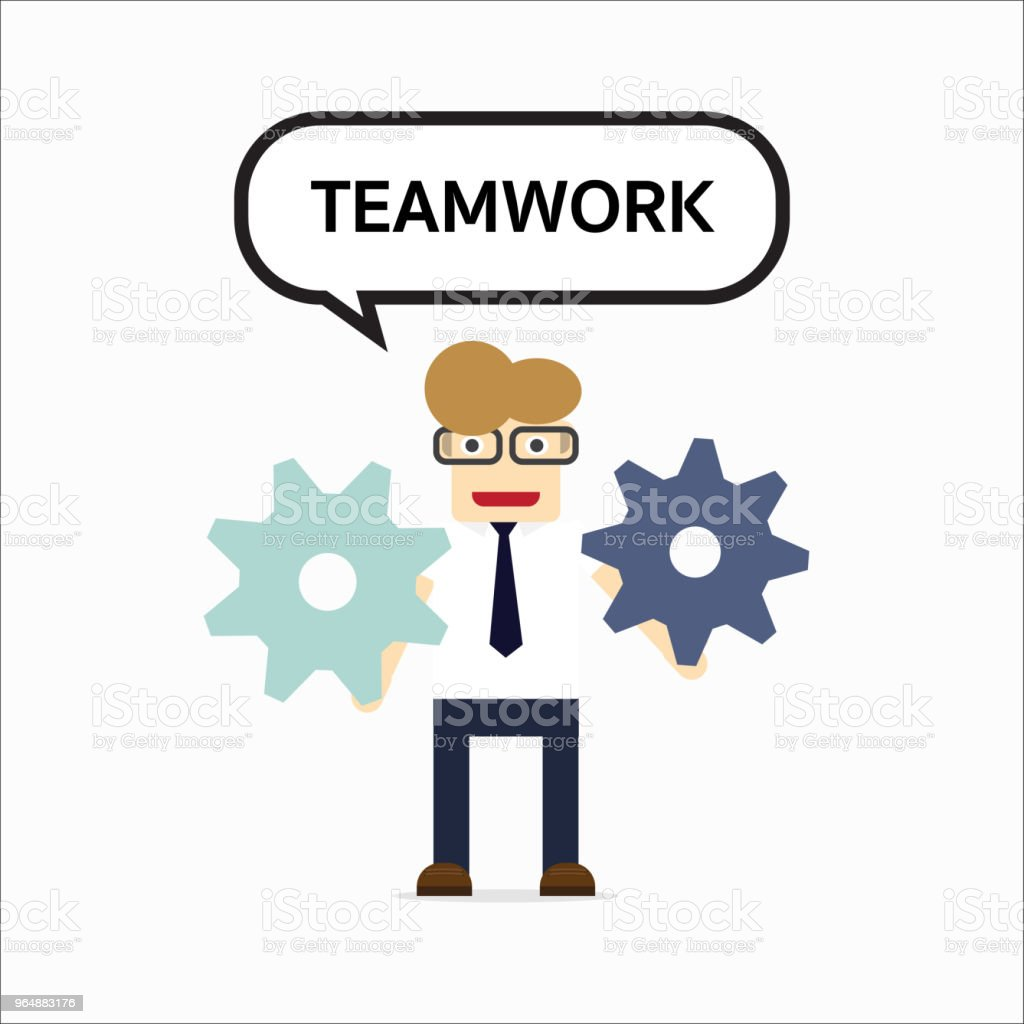 Concept of teamwork with gear system and text royalty-free concept of teamwork with gear system and text stock vector art & more images of activity