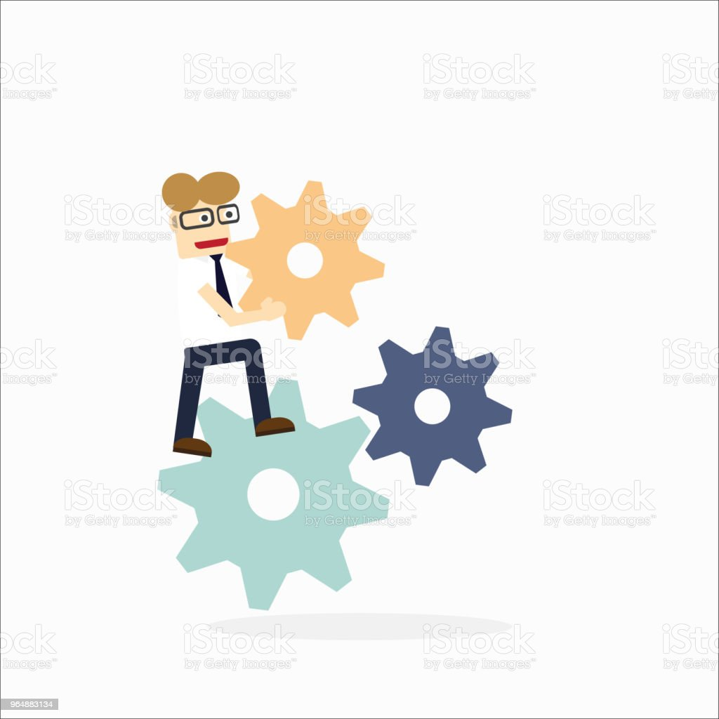 Concept of teamwork with gear system ,Business stand on gear and hold gear royalty-free concept of teamwork with gear system business stand on gear and hold gear stock vector art & more images of activity