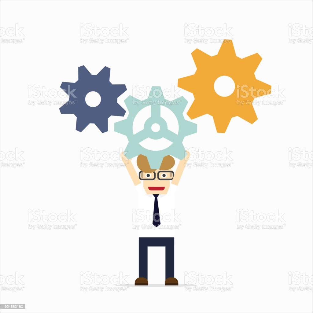 Concept of teamwork with gear system royalty-free concept of teamwork with gear system stock vector art & more images of activity