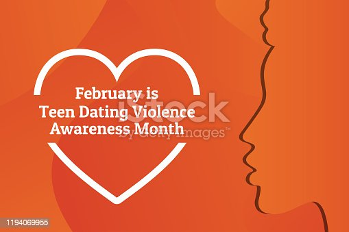 Concept of Teen Dating Violence Awareness Month, February. Silhouette of young african american girl. Template for background, banner, card, poster with text inscription. Vector illustration