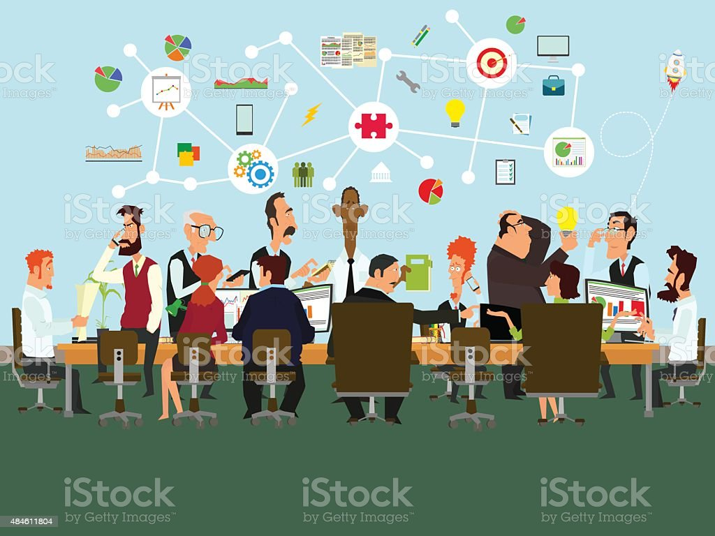 Concept of the coworking center. vector art illustration