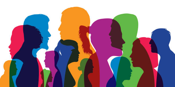 Concept of the diversity of humanity with the superposition of different profiles of men and women. vector art illustration