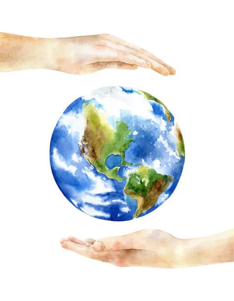 illustrazioni stock, clip art, cartoni animati e icone di tendenza di concept of the earth day - mika