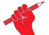 Concept de la liberté d'expression, avec un poing levé tenant un crayon rouge, symbolisant la lutte pour le droit d'exprimer librement son opinion.