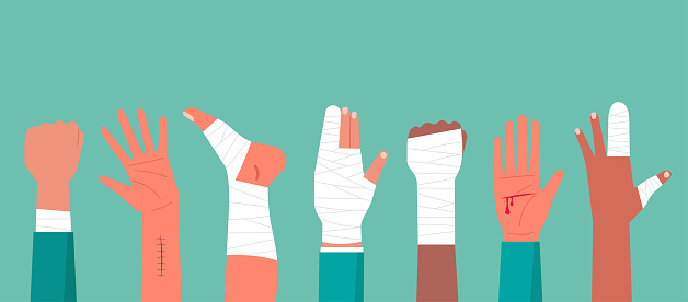 Concept of the human hand and foot trauma injury