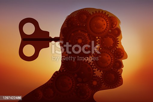 istock Concept of the manipulation of opinion, symbolized by a key that takes control of a brain replaced by gears. 1297422486