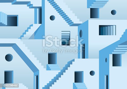 istock Concept of the maze and an exit impossible to find. 1310298492