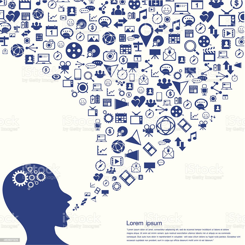 Concept of the Social network Blue icon royalty-free concept of the social network blue icon stock vector art & more images of achievement