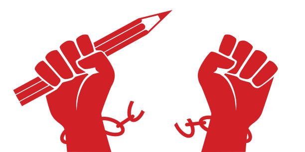 Concept of the struggle for freedom of information with a raised fist holding a pencil while freeing itself from its chains. vector art illustration