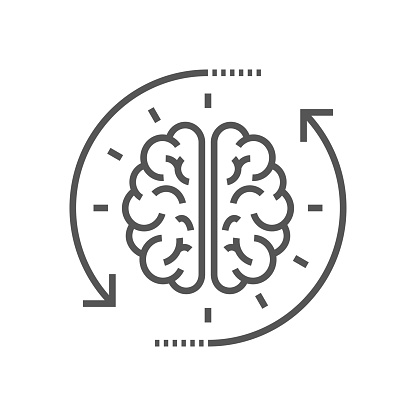 Concept of the thinking process, brainstorming, good idea, brain activity, insight. Flat line vector icon illustration design for your web design and print