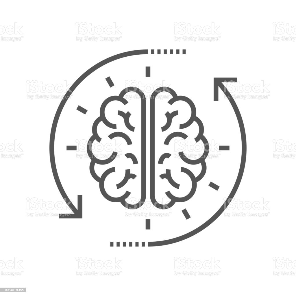 Concept of the thinking process, brainstorming, good idea, brain activity, insight. Flat line vector icon illustration design for your web design and print vector art illustration