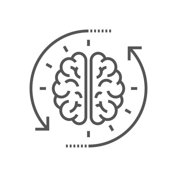 Concept of the thinking process, brainstorming, good idea, brain activity, insight. Flat line vector icon illustration design for your web design and print Concept of the thinking process, brainstorming, good idea, brain activity, insight. Flat line vector icon illustration design for your web design and print. EPS 10 brain stock illustrations