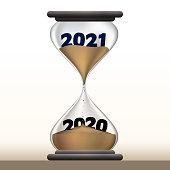 Concept du temps qui passe et du passage à la nouvelle année avec un sablier qui présente 2021 en faisant disparaître 2020