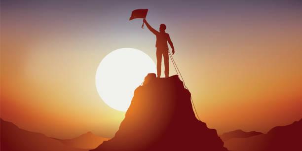 Concept of the victorious ascent of a mountain of a lonely Mountaineer. Concept de l'exploit sportif, avec un alpiniste vainqueur au sommet d'une montagne, qui agite un drapeau en signe de victoire. determination stock illustrations