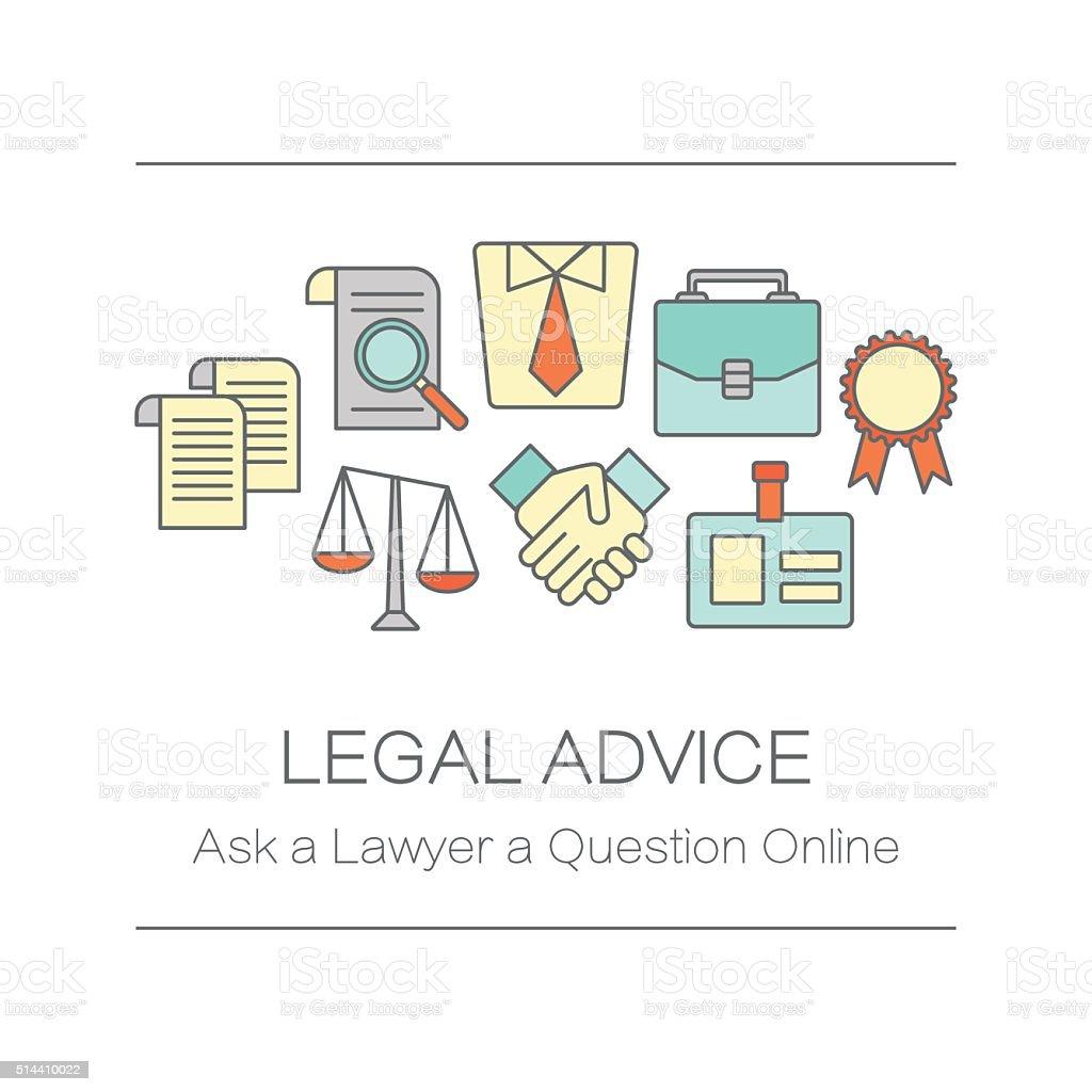 Conceito de Título da página do local ou Bandeira para aconselhamento jurídico. - ilustração de arte em vetor