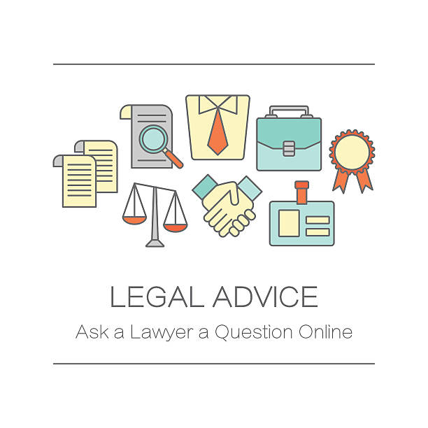 ilustrações, clipart, desenhos animados e ícones de conceito de título da página do local ou bandeira para aconselhamento jurídico. - assistente jurídico