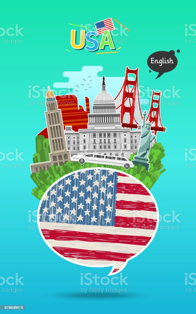 Concept of travel or studying English. vector art illustration
