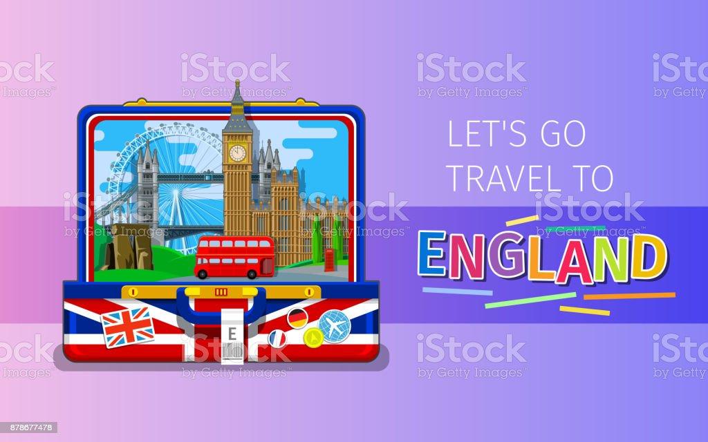 Konzept für Reisen oder lernen Englisch. – Vektorgrafik