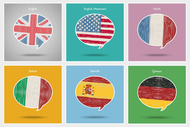 konzept für reisen oder studieren sprachen. - englischlernende stock-grafiken, -clipart, -cartoons und -symbole