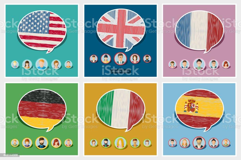 Concepto de viaje o estudiar las lenguas. - ilustración de arte vectorial