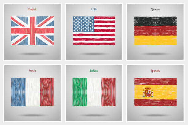 illustrations, cliparts, dessins animés et icônes de concept de voyage ou étudiants en langues. - cours de langue