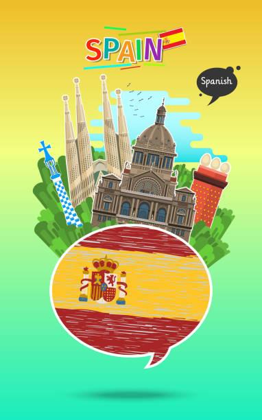 illustrations, cliparts, dessins animés et icônes de concept de voyage ou étudiant espagnol. - cours de langue