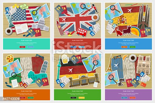 Concept of travel or studying languages. English, German, Spanish, Italian, French. Hand drawn flags with Sightseeings. Flat design, vector illustration