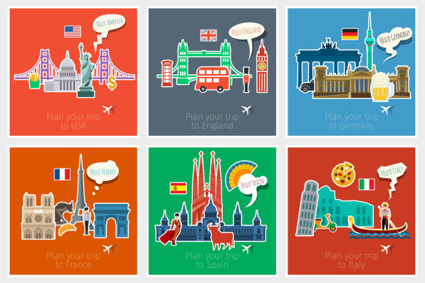 illustrazioni stock, clip art, cartoni animati e icone di tendenza di concept of travel or studying - spagnolo lingua