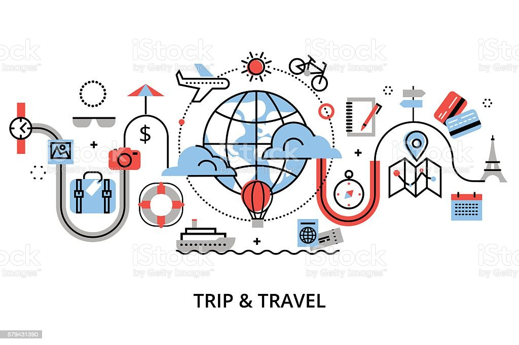 Concept of travelling around the world vector art illustration