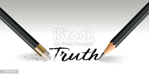 istock Concept of truth judged with the word that disappears with a stroke of gum. 1199845471